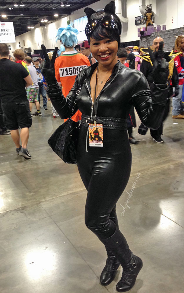 catwoman cosplayer at comic convention